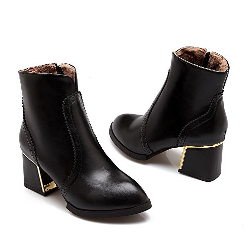 AgooLar Low Boots Zipper Heels Kitten Pointed Women's Solid Toe Black top Closed rAxqrv56