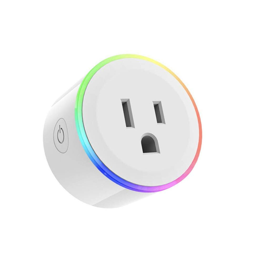 LED Coloured Lights WiFi Smart Plug Outlet,No Hub Required with Energy Monitoring, Timing Switch Voice Control Work with Alexa/Google Assistant