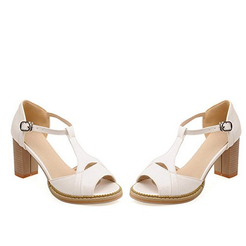 AllhqFashion Womens Pu Solid Buckle Peep Toe Kitten Heels Sandals White 3PQrtxc
