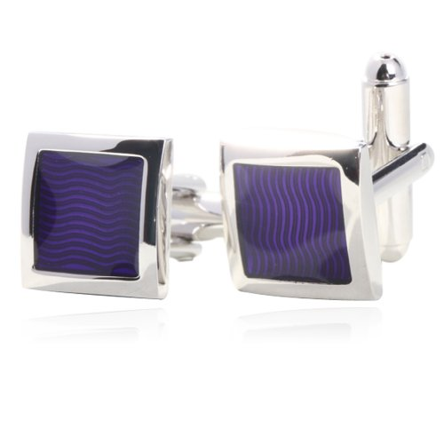(Fashion Purple Enamel Cufflinks for Men Gift Boxed By)