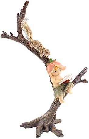 Top Collection Miniature Fairy Garden and Terrarium Garden Sprite Reading Book with Squirrel Statue