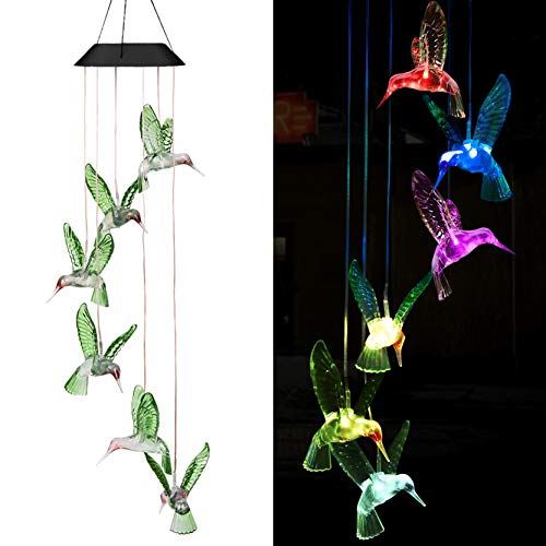 xxschy LED Solar Hummingbird Wind Chimes Outdoor - Waterproof Solar Powered LED Changing Light Color 6 Hummingbirds Mobile Romantic Wind-Bell for Home, Party, Festival Decor, Night Garden - Hummingbird Bell