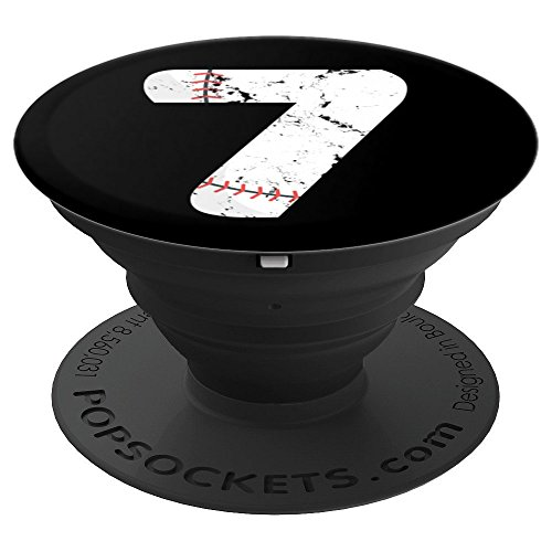 Number #7 BASEBALL Vintage Distressed Team Art - PopSockets Grip and Stand for Phones and Tablets