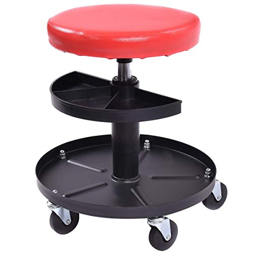 Pneumatic Mechanic Roller Seat Adjustable Rolling Stool, Red and Black 300 lbs Capacity With 3 Tray