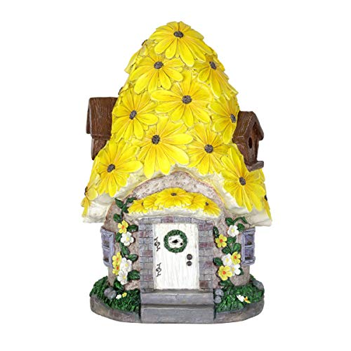 (Exhart Solar Fairy House Statue with Sunflower Roof - Mini Fairy Cottage Resin Statue w/Solar Garden Lights - Sunflower Topped Fairy Hut - Fantasy Garden Home Decor, 9.45