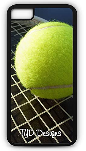iPhone 8 Case Tennis Ball Racket Court Game Set Match Wimbledon Customizable TYD Designs in Black Rubber ()