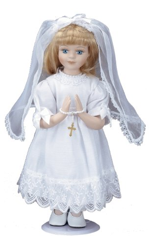 Roman Communion Gifts, Tall Porcelain Communion Doll, 12-Inch, Blonde