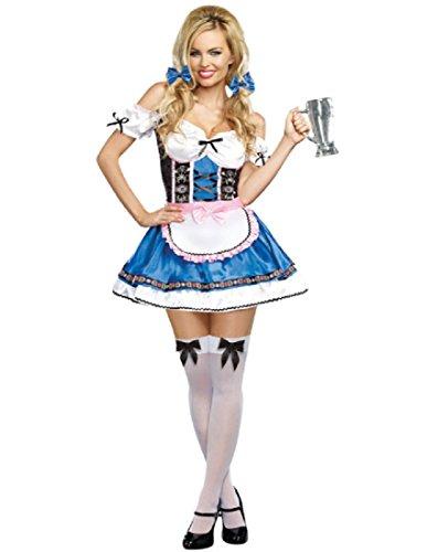 Dreamgirl Women's Happy New Beer, Multi, Small (Ladies Lederhosen Fancy Dress)