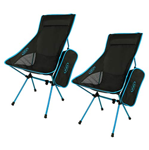G4Free Outdoor 2 Pack Camping Chair Portable Lightweight Folding Camp Chairs with Headrest High Back High Legs for Outdoor Backpacking Hiking Travel Picnic Festival (Blue)