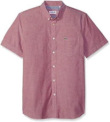 ceb9891e3d Lacoste Men's Short Sleeve Button Down Oxford Solid Shirt Regular ...