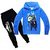 Fortnite Hoodie Crewneck Pocket Hooded Sweatshirt Pant Set For Kids
