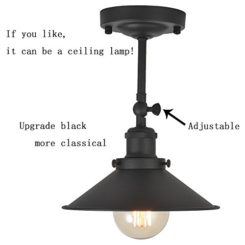 XIDING Premium Retro Industrial Edison Simplicity Metal Wall Sconce Light Fixture,Upgrade Black Finish Shade Vintage Swing Arm Wall Lamp, E26 Base, 1 Light by XIDING (Image #2)