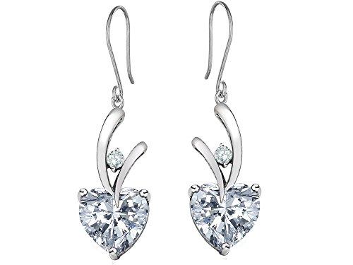 Star K 8mm Heart Shape Genuine White Topaz Hanging Hook Love Earrings Sterling Silver (Topaz Star White Prong)