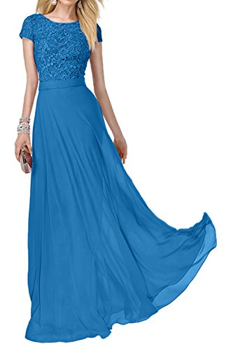 Lang Rosa Spitze Abendkleider Festlich Abiballkleider Charmant Ballkleider Blau Kurzarm Promkleider Damen Zqzw7zxWnU
