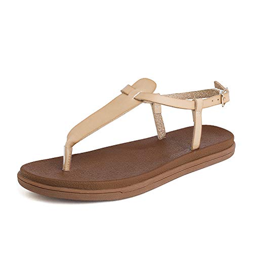 DREAM PAIRS Women's T-Strap Flat Sandals Size 8 M US Nude Dumbo-Thong