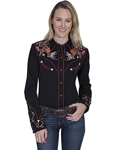 scully-western-shirt-womens-l-s-snap-embroidery-pearl-xl-black-pl-840