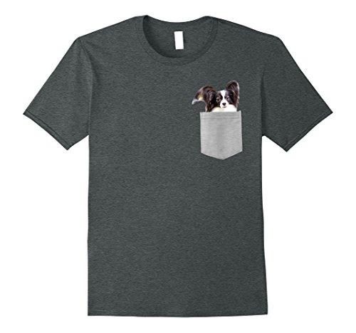 Mens Dog in Your Pocket Papillon t shirt shirt Small Dark Heather