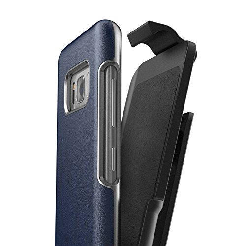 Galaxy S8 Plus Leather Belt Clip Case w/ Holster - Artura Collection By Encased (Samsung S8+) (Oxford Blue) (Blue Leather Case Belt Clip)