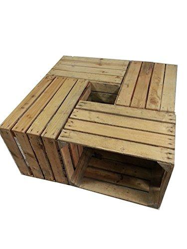 4 x masivas - cajas de madera usados - Cajas de vino - para muebles - Shabby: Amazon.es: Hogar
