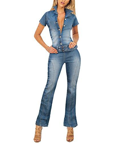 b235ec274647 HyBrid   Company Womens Stretch Denim Overalls PVJ156285A Medium BLU L