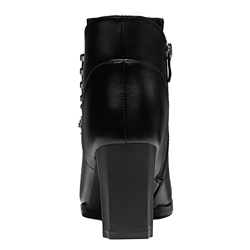 Ankle Zipper Lady's Head Decorative Boots Boots Metal Black Side Round Women's qtx180