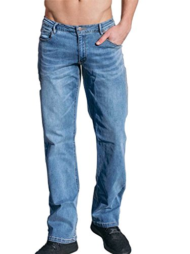 Barbell Apparel Men's Relaxed Athletic Fit Jeans - AS Seen On Shark Tank (Light Wash, 30x34)
