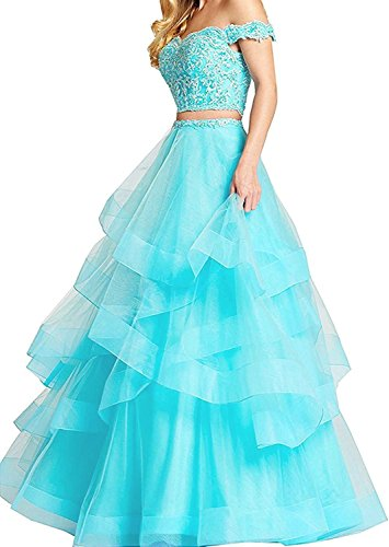 Alanre Women's Ruffle Tulle Beads Lace Prom Quinceanera Dress Two Pieces Party Ball Gown Turquoise 4