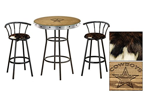 Oak Bar Table Set with Hand-Carved Cowboys Logo and Glass Top and 2 - 29