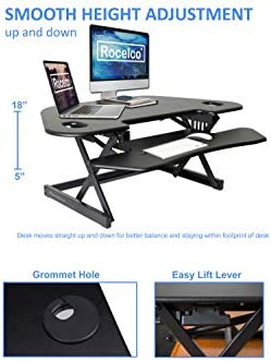 Rocelco 46 Height Adjustable Corner Desk Converter Quick Sit Stand Up Dual Monitor Riser Computer Work Station-Large Keyboard Tray- R CADRB-46 , Black