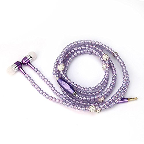 Pearl Stereo - Hunputa Fashion 3.5mm In ear Stereo Magnetic Ear Bud Pearl Necklace Headphone Headset Super Bass Music Earphone Earbuds for Womens Gift (Purple)