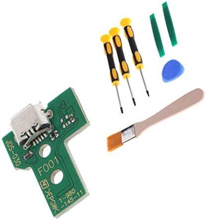 交換部品 USB充電ソケットボード 12ピン JDS-030 PS4 Dualshock 4に対応 修理ツール付き