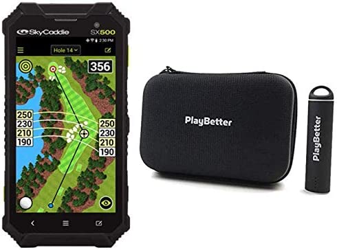PlayBetter SkyCaddie SX500 Power Bundle Portable Charger PlayBetter Protective Hard Case Rugged, Touchscreen, 5 Display, 35,000 Maps Handheld Golf GPS