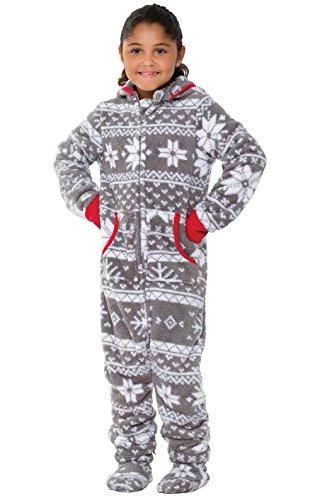 PajamaGram Cozy Footed Pajamas Kids - Soft Fleece Girls Footed Pajamas, Gray, 10