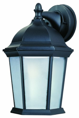 - Maxim 85024FTBK Side Door EE 1-Light Outdoor Wall Mount, Black Finish, Frosted Glass, GU24 Fluorescent Fluorescent Bulb , 60W Max., Dry Safety Rating, Standard Dimmable, Glass Shade Material, 1800 Rated Lumens