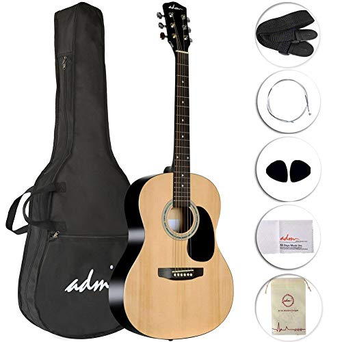 ADM Acoustic Guitar 39 Inch for Music Player Guitarist Buddle with Gig Bag, Strings, Strap, Picks and Polishing Cloth