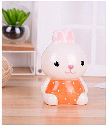 Goodscene Cartoon Piggy Bank Sitting Bunny Piggy Bank Lovely Ceramic Ornaments Children Present (Orange) by Goodscene