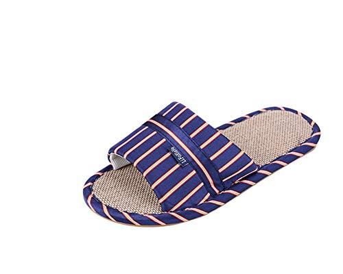 Femmes Et Et Pantoufles Automne Le Été ZiXing Sandales Non pour Hommes en Blue Printemps pour Lin glissantes Pantoufles ZtInqawnd