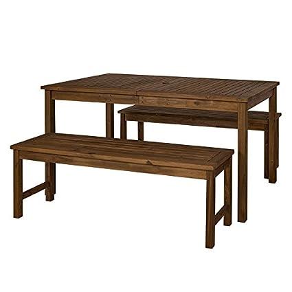 Amazon Com Pemberly Row Acacia Wood Patio 3 Piece Dining Set In