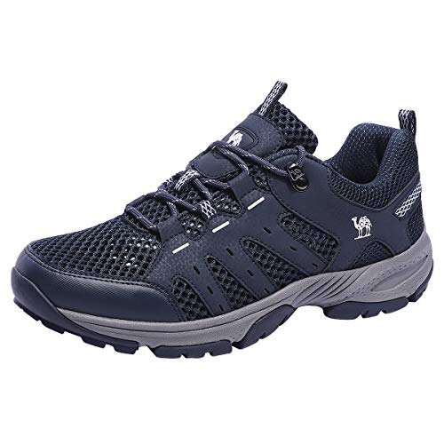 CAMEL CROWN Hiking Shoes Men Lightweight Breathable Mesh Walking Sneakers Low Top Boots for Outdoor Walking Trekking Backpacking(Dark Blue,9.5 M(D) US)