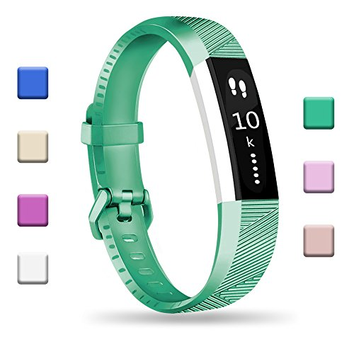 Fundro Compatible Fitbit Alta HR Bands, Newest Sport Replacement Wristbands Secure Metal Buckle Fitbit Alta HR/Fitbit Alta (1-Pack Green, Small (6.2-7.1))