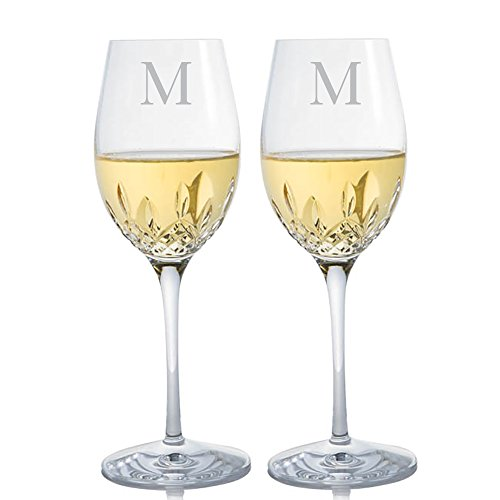 Personalized Waterford Lismore Essence Crystal White Wine Glass (Set of 2) Engraved & Monogrammed - Wedding Gift - Anniversary Gift - Great Gift for Father's Day, Weddings and Groomsmen