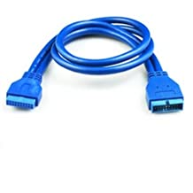 Ayangyang 50cm Blue 20 Pin Male to Female USB 3.0 Housing 20 Pin Male to Female Extension Cable M/f USB 3.0 Motherboard 20 Pin Male to Female Header Extension Cable Connector