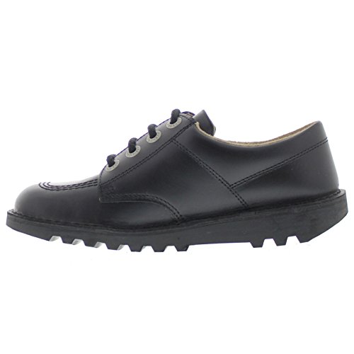 Image of Kickers Kick Lo Core Black Leather Unisex Lace Up School Shoes