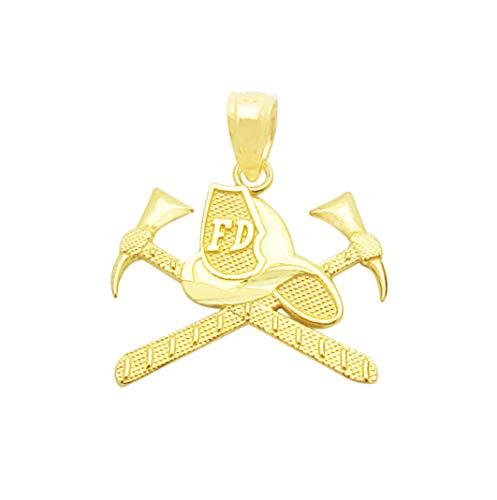 AMZ Jewelry 10K Yellow Gold Firemen's Hat Axes Pendant Firefighter Charm