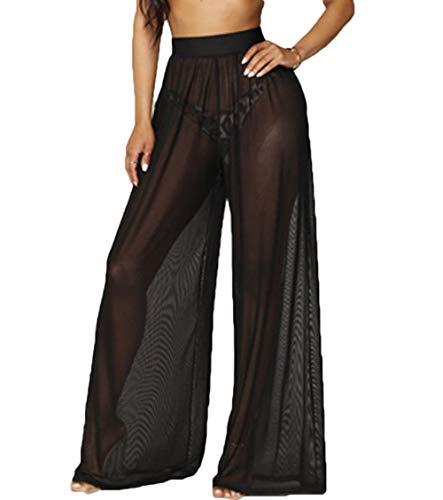 RUEWEY Women See Throug Mesh Flare Cover up Pants Swimsuit Bikini Bottom Cover up Elastic Waist Loose Wide Leg Long Palazzo Pants Trousers (S, Black)