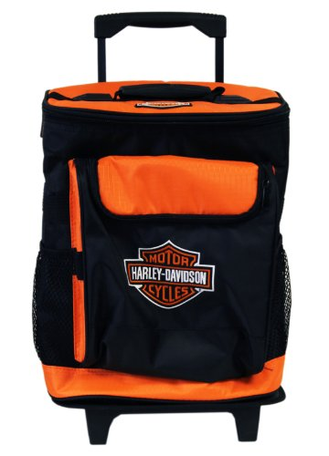 Amazon.com: Black and Orange Harley Davidson Rolling Travel Cooler ...