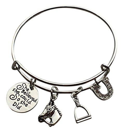 Infinity Collection Equestrian Horse Lover She Believed She Could So She Did Charm Bangle Bracelet, Horse Jewelry, for Her ()