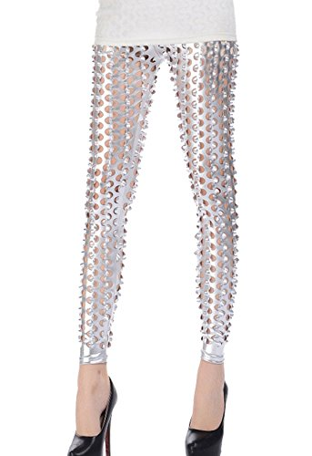 Women Punk Rock Leggings Sequined Full Length Fish Scale Pencil Pants Printed Hollow Out Stretch Leggings Pants (Metallic Bodycon Dress)