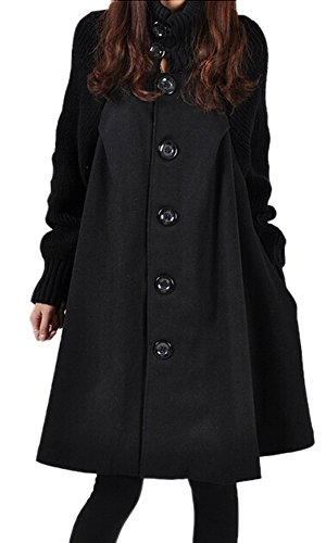 Feeson Womens Single-Breasted Stand Collar Classic Trench Coat Red – M-Bust 40.8″, Black