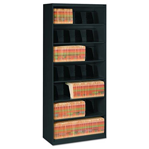 Tennsco FS370BL Open Fixed Shelf Lateral File, 36w x 16 1/2d x 87h, Black (Shelf Dividers File)